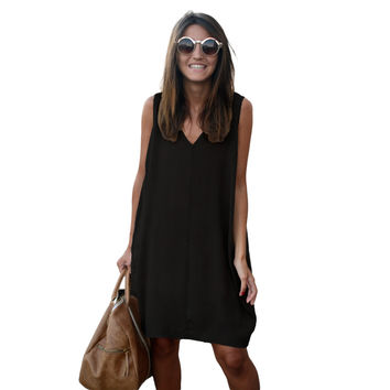 Fashion Sleeveless Tank Dresses High Low Hem Loose Casual Summer Dress V Neck Asymmetric Shift Loose Women Clothing