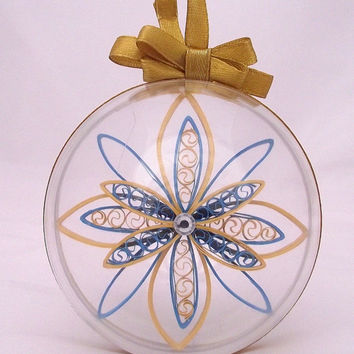 christmas ornament in a bauble, custom christmas decoration, christmas star, paper snowflake, quilled ornament, blue and yellow decoration,