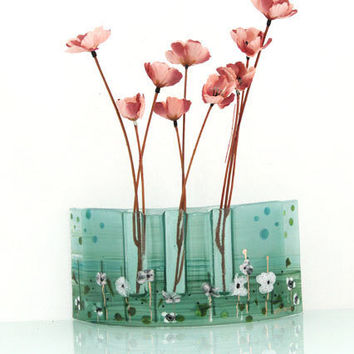 Fused glass Curved vase dwvided to three vases in Calm green colors