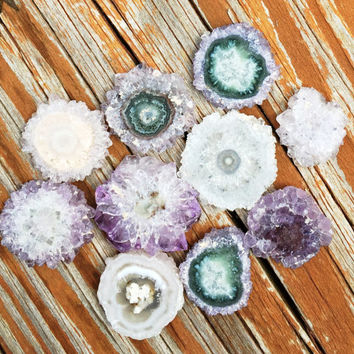 "1 One Purple AMETHYST STALACTITE Extra Polished Quality Crystal Slice ~ 3/4"" to 1"" ~ Jewelry, Rings, Crafts, Pendants"