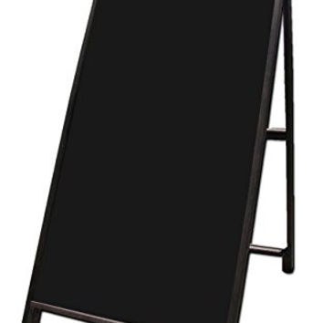 "Wood A-Frame 24""x48"" Double Sided Sidewalk Signs w/ Black Acrylic Panels"