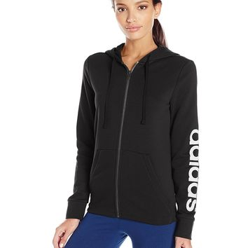 adidas Women's Essentials Linear Full Zip Fleece Hoodie
