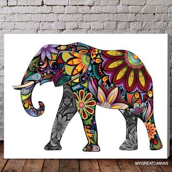 Colorful Cheerful Elephant Canvas Print - Flower Ornament Elephant Canvas Printing - Large Wall Art - Stretched Canvas