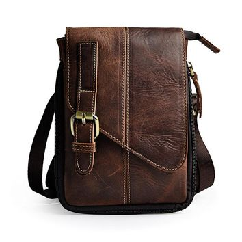 Retro Crazy Horse Genuine Natural Leather Casual Multi-funciton Bag Men's Mini Shoulder Bag Messenger Bag Waist Belt Sling Pack