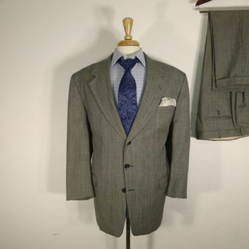 Vintage Mens suit, vintage clothing 80's by Claudio Morelli Two Piece Three Button Black and White Glen Plaid  46