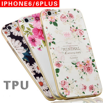 For Apple iPhone 6 for 6s Plus case 3D Embossing Soft Silicone TPU Back With Dust Plug for iPhone 7 plus Cover Case