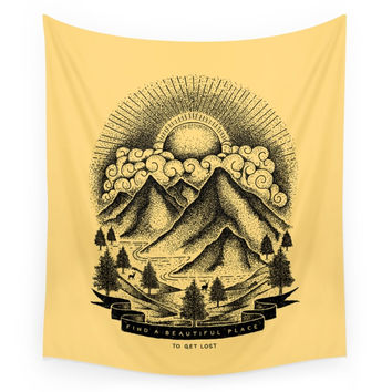Society6 FIND A BEAUTIFUL PLACE TO GET LOST Yello Wall Tapestry