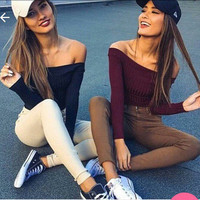 2016 Long Long Sleeve Off Shoulder Solid Boat Neckline Casual Party Playsuit Clubwear Bodycon Boho Top Shirt T-Shirt _ 9145