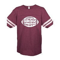 Sassy Frass Most Wonderful Time of the Year Football Season Maroon Vintage Jersey Girlie Bright T Shirt