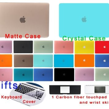 Crystal Matte Shell For Macbook Air 13 Case Air Pro Retina 11 12 13 15 inch Hard laptop Cover Protect Black A1706 A1707 A1708