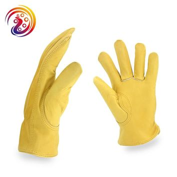 OLSON DEEPAK Cow Leather Factory Driving Gardening Motorcycle Work Gloves HY008 Free Shipping