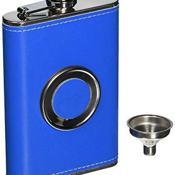 Shot Flask  Dirty Macks 8oz Blue Patent Leather Stainless Steel 8 Ounce Hip Whiskey Flask Gift Set with Collapsible Retractable Steel Cup and Easy Pour Funnel  Great Wedding or Anniversary Gift