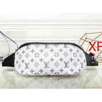 LV Louis Vuitton Popular Women Men Print Leather Purse Waist Bag Single-Shoulder Bag Crossbody White I