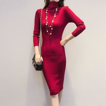 Plus Size Pullovers Dress 2018 New Fashion Long Turtleneck Knitted Sexy Women Autumn Winter Sweater Dress YP0141