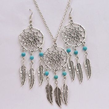 Dreamcatcher Tassels Feathers Pendant Necklace Jewelry Set Vintage Antique Silver Dream Catcher beads Charm Dangle Earrings