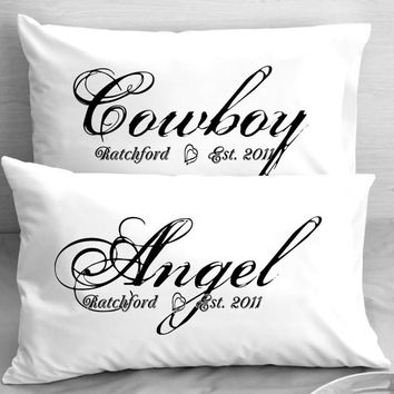 Cowboy and Angel Personalized Pillow Cases - Pillowcases Cowboys Angels Country Western engagement, wedding anniversary gift.