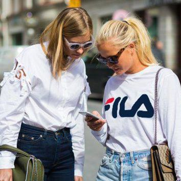Fashion FILA Hot Sale Print Women Men SweaterShirt B-KWKWM White Tagre™