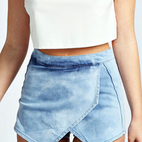 Blue Cross Front Asymmetrical Denim Shorts