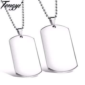 TENGYI Personalized ID Bracelet DIY Engraving Romantic Pendant Couple Necklaces Stainless Steel Jewelry Christmas Gift 1096
