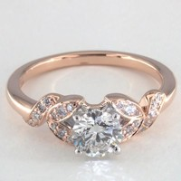14K Rose Gold Pave Vine Diamond Engagement Ring