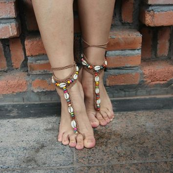 2pcs Handmade Knitted Seashell  Anklets