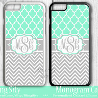 Monogram Mint Lattice iPhone 6S Case 6 Plus iPhone 5s 5C 4 case Ipod Tough Cover Custom Gray Chevron Zigzags Quatrefoil Personalized