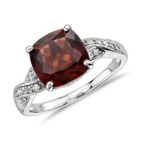 Garnet and White Sapphire Ring in Sterling Silver (9x9mm) | Blue Nile