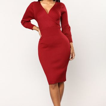 Rue Knit Dress - Burgundy