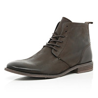 River Island MensDark brown lace up boots