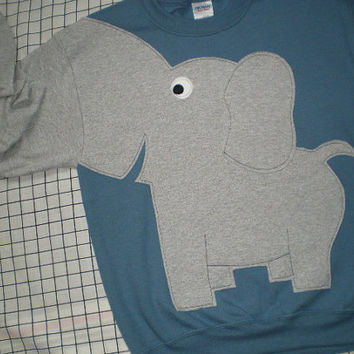 Elephant Trunk sleeve sweatshirt sweater jumper UNISEX Large steel blue zoo shirt