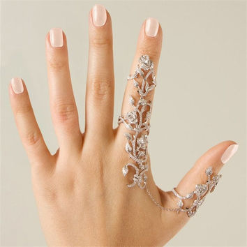 2015 Rings Multiple Finger Stack Knuckle Band Crystal Set Womens Fashion Jewelry (With Thanksgiving&Christmas Gift Box)= 1933220036