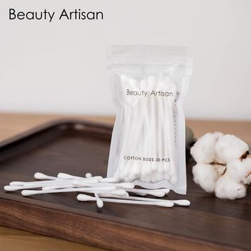30Pcs/Set Portable Travel Soft Cotton Swab buds Makeup Cosmetic Remover Disposable Medical Cure Health Beauty Swabs Buds Balls