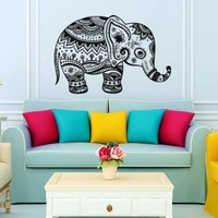 Wall Decals Indian Elephant Tribal Floral Pattern Om Sign Ganesh Buddha Lotus Yoga Wall Vinyl Decal Stickers Bedroom Murals