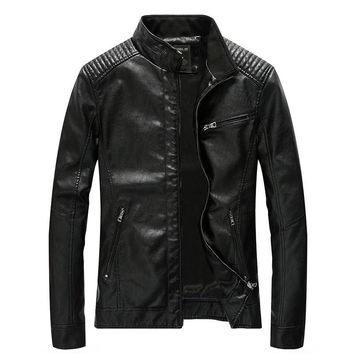 Trendy 2018 New Motorcycle Bomber Leather Jackets Men Autumn Winter Faux Leather Jacket Men Outwear Male Business Casual Coats 4XL 5XL AT_94_13