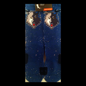 Timberwolf in Blue or Silver Inspired Custom Nike Elite Socks