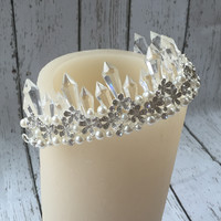 Rose & Crystal Half Crown Tiara