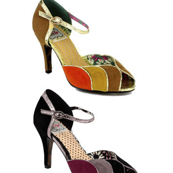 Bettie Page Nightengayle Color Block Sandal
