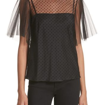 RED Valentino Point d'Esprit Mesh Sleeve Top | Nordstrom