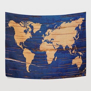Wooden Blue World Map Tapestry Wall Hanging Navy Blue Map Wall Decor Art for Bedroom Living Room and Dorm