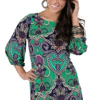 Karlie® Women's Green with Purple & Navy Paisley Print 3/4 Sleeve Dress