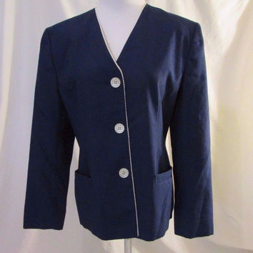 Pendleton Jacket Blazer Women's 12 Navy Button Front Trim Edging Lined