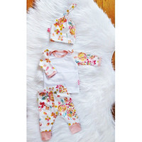 Children Autumn Vanilla Long Sleeve Tops Set [9283976964]