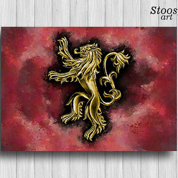 game of thrones print House Lannister poster decor lion