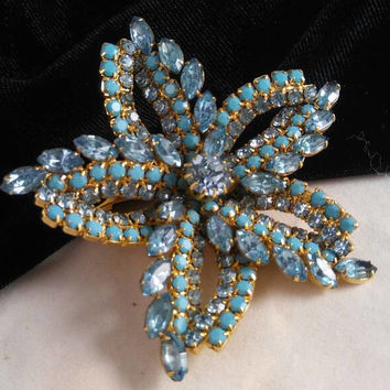 Now On Sale Aqua & Blue Rhinestone Brooch Vintage 1950's Starfish Flower Jewelry