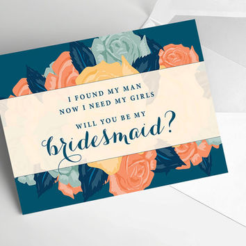 Will you be my Bridesmaid Cards, Bridal Party Invitations, Will you be my Maid of Honor - Instant Download