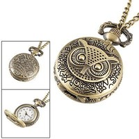 RSSP Women's Ladies Bronze Tone Owl Hunter Case Floral Necklace Pocket Watch