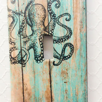 Octopus, Light Switch Cover, Tentacle, Kraken, Octopus Decor, Light Switch, Ocean Theme Decor, Beach House, Coastal Decor, Nautical