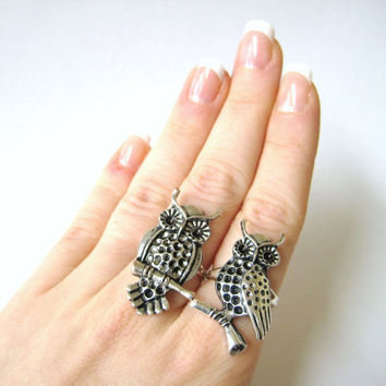 $21.95 Best Friend/Sister Matching Owl Rings by SpotLightJewelry