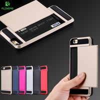 FLOVEME Heavy Duty Case For iPhone 7 iPhone 7 6 6S Plus Cases Slide 2 Card Holder Armor Cover For iPhone 6 6S iPhone 5S SE Case