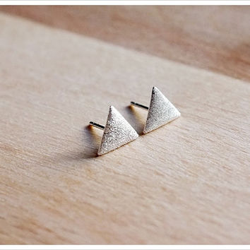Triangle Stud Earrings - Sterling Silver Textured Stud Earrings - Geometric Jewelry - Simple Minimalist Everyday Jewelry LITTIONARY